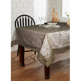 Lushomes Silver Pattern 3 Jacquard 6 Seater Table Cloth with High Quality Polyester Border (Size: 60 x90 ) single piece