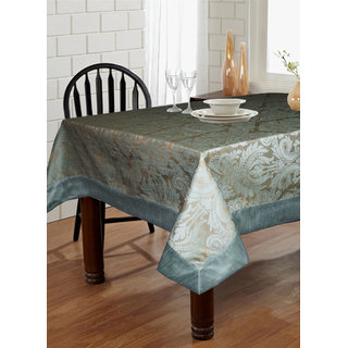 Lushomes Blue Pattern 3 Jacquard 6 Seater Table Cloth with High Quality Polyester Border (Size: 60 x90 ) single piece