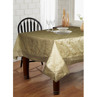 Lushomes Natural Pattern 3 Jacquard 6 Seater Table Cloth with High Quality Polyester Border (Size: 60 x90 ) single piece