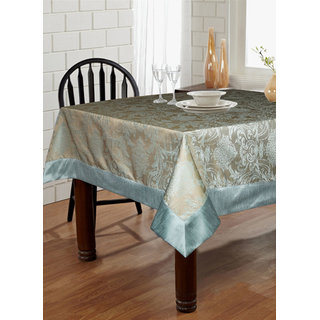 Lushomes Blue Pattern 4 Jacquard 6 Seater Table Cloth with High Quality Polyester Border (Size: 60 x90 ) single piece