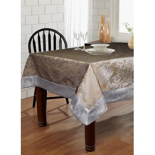 Lushomes Warm Silver Pattern 4 Jacquard 6 Seater Table Cloth with High Quality Polyester Border (Size: 60 x90 ) single piece