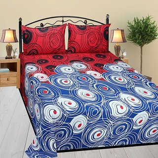 Living Creation Cotton Double 1 Bedsheet With 2 Pillow Covers(Casement-01)