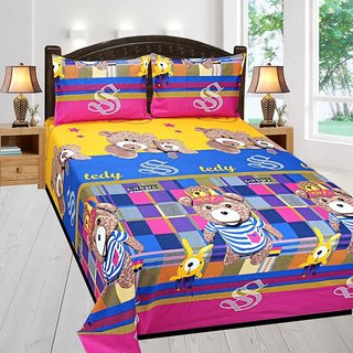 Living Creation Cotton Double 1 Bedsheet With 2 Pillow Covers(Casement-02)