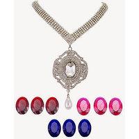 American Diamond Necklace Set With Changable Diamonds - 70502