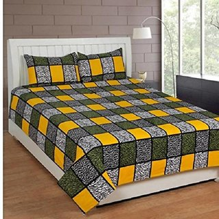 Living Creation Cotton Double 1 Bedsheet With 2 Pillow Covers(Casement-04)