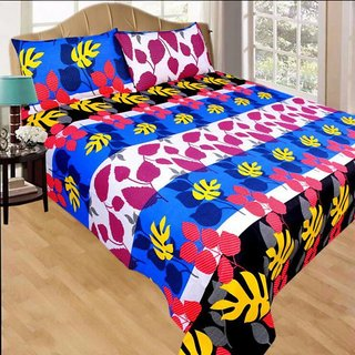 Living Creation Cotton Double 1 Bedsheet With 2 Pillow Covers(Casement-05)