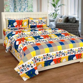Living Creation Cotton Double 1 Bedsheet With 2 Pillow Covers(Casement-07)
