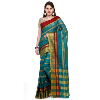 Bhuwal Fashion Turquoise Blue Cotton Silk Traditional Saree-BF215