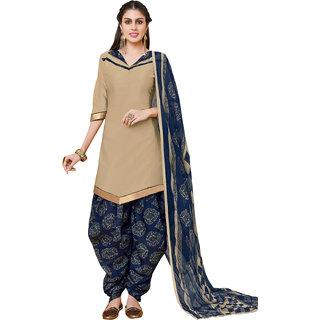 Meia Beige Cotton Printed Salwar Suit Material