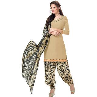 Swaron Beige Colour Crepe Dress Material 555D16004 (Unstitched)