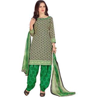 Swaron Black,Beige,Green Colour Cotton Dress Material 522D4001 (Unstitched)