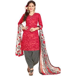 Swaron Red Colour Cotton Dress Material 522D4007 (Unstitched)
