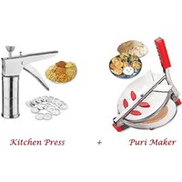 Combo Of Puri Maker / Press & Stainless Steel Kitchen Press With 15 Different Jalis