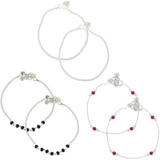 Beadworks Fashionable Anklet Set of 3 Pair