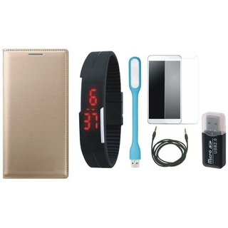 Samsung C7 Pro Leather Cover with Memory Card Reader, Free Digital LED Watch, Tempered Glass, LED Light and AUX Cable