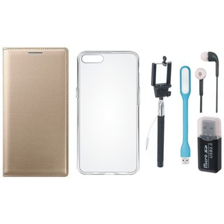 Oppo A71 Flip Cover with Memory Card Reader, Silicon Back Cover, Selfie Stick, Earphones and USB LED Light