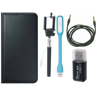 Samsung J7 Max Flip Cover with Memory Card Reader, Selfie Stick, USB LED Light and AUX Cable
