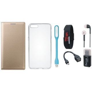 Oppo A71 Flip Cover with Memory Card Reader, Silicon Back Cover, Digital Watch, Earphones, USB LED Light and OTG Cable