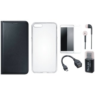 Samsung J7 Max Flip Cover with Memory Card Reader, Silicon Back Cover, Tempered Glass, Earphones and OTG Cable