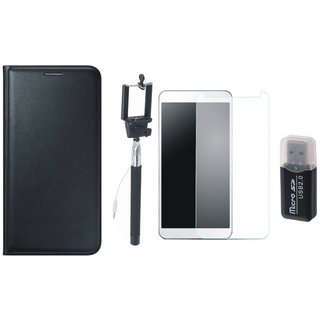 Samsung J7 Pro Leather Flip Cover with Kick Stand with Memory Card Reader, Free Selfie Stick and Tempered Glass