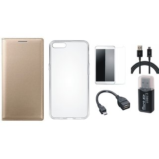 Samsung C7 Pro Stylish Cover with Memory Card Reader, Silicon Back Cover, Tempered Glass, OTG Cable and USB Cable