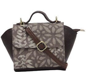TARUSA Brown Cotton Printed For Sling Bag Women