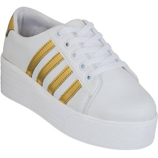 buy blinder white golden women's broad sole casual shoes