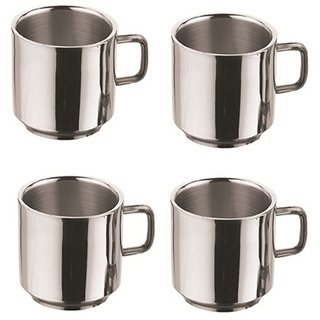 Steel Coffee Mug Double Wall - 100ml (Set of 4 Pieces)