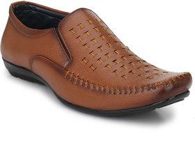 tan formal slip on shoes