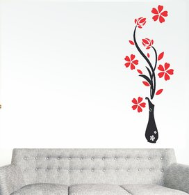 Wall Dreams Vinyl Multicolor Nature Flower Wash Wall Sticker (25 cm x 30 cm) - Set Of 1