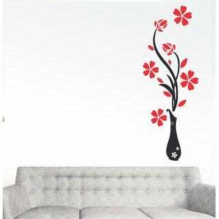 Wall Dreams Vinyl Multicolor Nature Flower Wash Wall Sticker (25 cm x 30 cm) - Set Of 1