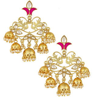 The Jewelbox Peacock 18K Gold Plated Pink Enamel Filigree Pearl Kundan Chandelier Earring Girl Women