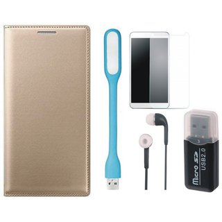 Oppo F1s Leather Flip Cover with Kick Stand with Memory Card Reader, Tempered Glass, Earphones and USB LED Light