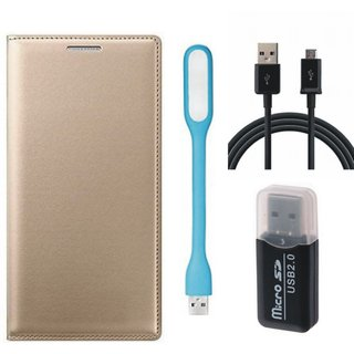 Oppo F1s Leather Flip Cover with Kick Stand with Memory Card Reader, USB LED Light and USB Cable
