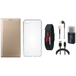 Oppo F5 Flip Cover with Memory Card Reader, Silicon Back Cover, Digital Watch, Earphones and USB Cable