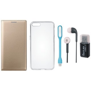 Oppo F1s Leather Flip Cover with Kick Stand with Memory Card Reader, Silicon Back Cover, Earphones and USB LED Light
