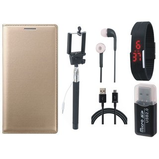 Oppo F1s Leather Flip Cover with Kick Stand with Memory Card Reader, Selfie Stick, Digtal Watch, Earphones and USB Cable
