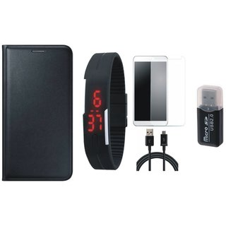 Samsung C9 Pro Flip Cover with Memory Card Reader, Free Digital LED Watch, Tempered Glass and USB Cable