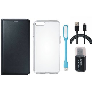 Oppo F5 Premium Leather Cover with Memory Card Reader, Silicon Back Cover, USB LED Light and USB Cable