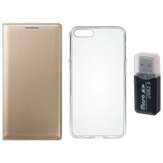 Oppo A71 Leather Flip Cover with Kick Stand with Memory Card Reader, Silicon Back Cover, Free Silicon Back Cover