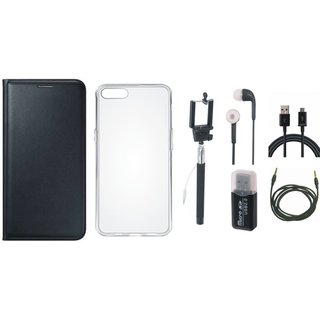 Oppo F1 Plus Flip Cover with Memory Card Reader, Silicon Back Cover, Selfie Stick, Earphones, USB Cable and AUX Cable