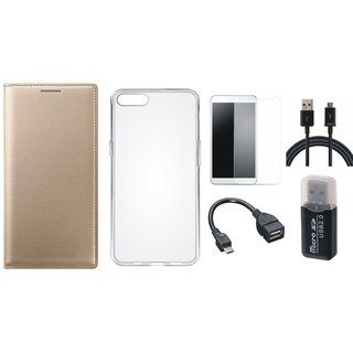 Oppo F1 Plus Premium Leather Cover with Memory Card Reader, Silicon Back Cover, Tempered Glass, OTG Cable and USB Cable