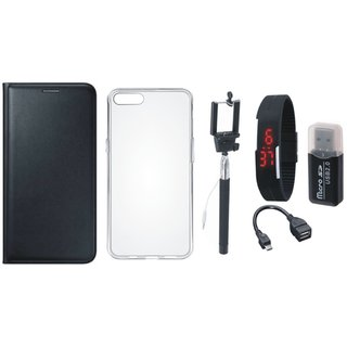 Oppo F1s Leather Flip Cover with Kick Stand with Memory Card Reader, Silicon Back Cover, Selfie Stick, Digtal Watch and OTG Cable