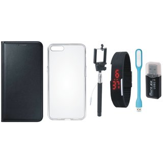Oppo F5 Premium Leather Cover with Memory Card Reader, Silicon Back Cover, Selfie Stick, Digtal Watch and USB LED Light