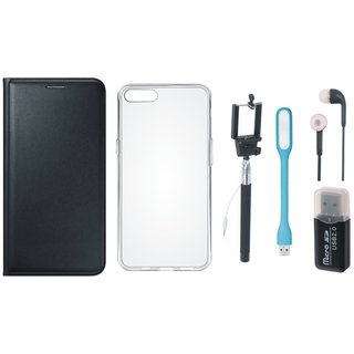 Oppo F1s Leather Flip Cover with Kick Stand with Memory Card Reader, Silicon Back Cover, Selfie Stick, Earphones and USB LED Light