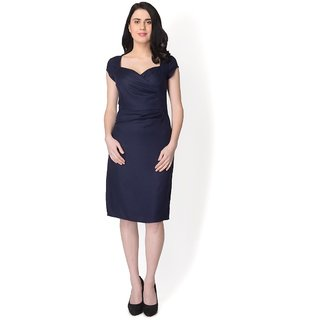 Yaadleen Rayon Black Fit And Flare Dress