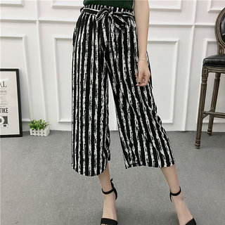 cigarette pants/women trousers pants/culottes/ladies trouser/Striped culottes  FREE SIZE- STRIPED WIDE LEG PANT WITH BEL