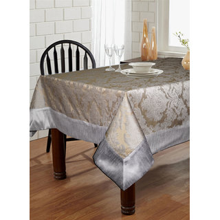 Lushomes Warm Silver Pattern 5 Jacquard 6 Seater Table Cloth with High Quality Polyester Border (Size: 60 x90 ) single piece
