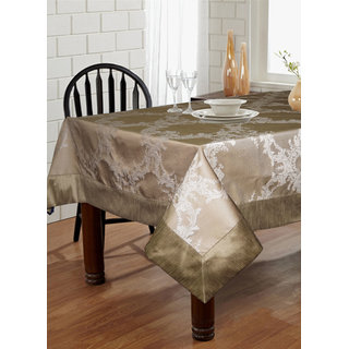 Lushomes Silver Pattern 1 Jacquard 6 Seater Table Cloth with High Quality Polyester Border (Size: 60 x90 ) single piece