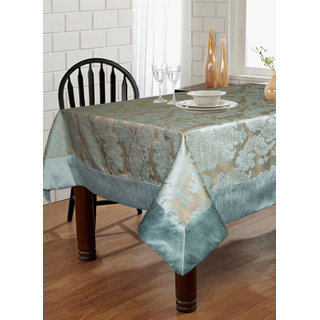 Lushomes Blue Pattern 5 Jacquard 6 Seater Table Cloth with High Quality Polyester Border (Size: 60 x90 ) single piece